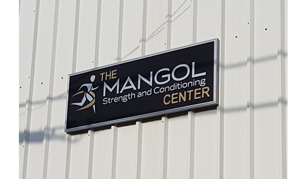 Sand blasted sign at Mangol and Conditioning Center